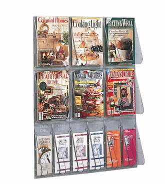 "(56901) ""Stand-Tall"" Literature Rack, 6 x A4, 6 x DLE, Wall Rack"