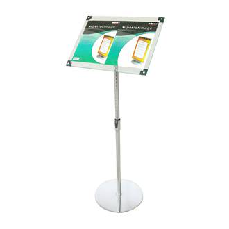 Acrylic Floor Stand, A3 Clear with Chrome Pole and Base