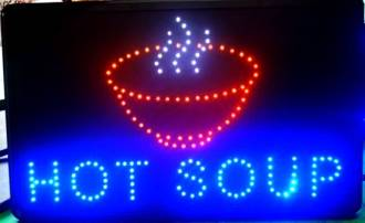 (LED-SIGN-13) LED Flashing HOT SOUP Sign