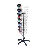 Chrome Wire Literature Holder Rotating Floor Stand A4 21 -pocket 7 Tier 3-sided