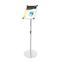 Acrylic Sign Floor Stand A4 Clear with Chrome Pole and Base
