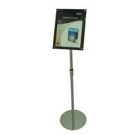 Acrylic Floor Stand, A4 Clear/Black with Chrome Pole and Base