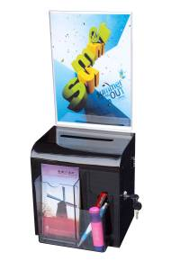 (86112) Ballot Box, Smoke, Wall Mount with Key Lock & Sign Holder