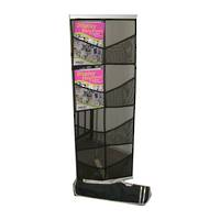Literature Display Rack, Mesh,  Black, A4 x 8