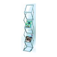 Literature Display Rack, Metal & Acrylic, A4 x 6 with Aluminium Carry Case