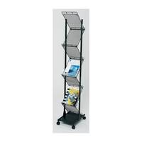 Literature Display Rack, Wire, Black 2-Sided, A4 x 7