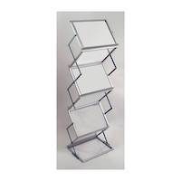 Literature Display Rack, Metal & Acrylic, Collapsible A3 x 6 with Aluminium Carry Case