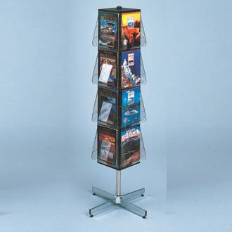 "(58021) ""Stand-Tall"" Literature Rack, 16 x A4, Free-standing, Rotating, Black"
