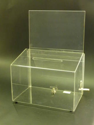 (66601) Ballot Box, Clear,  with Key Lock & A5 Landscape Sign Holder