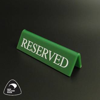 Small Green RESERVED Table Sign