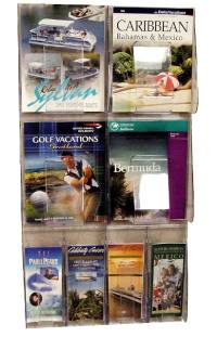 "(56701) ""Stand-Tall"" Literature Rack, 4 x A4, 4 x DLE, Wall Rack"