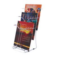 Chrome Wire Literature Holder Free Standing A4 3-pocket 3 Tier x 1 Wide