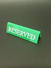 Green Small Reserved Signs